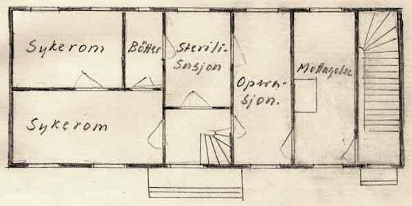 Plan av første etasje på Seem feltsykehus - Feltsykehus nr 1